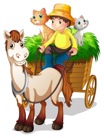 Illustration of a farmer riding in a strawcart with his farm animals on a white background