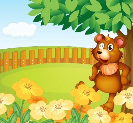 Illustration of a bear standing near the flowers