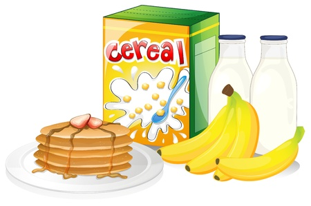 food storage: Illustration of a full breakfast meal on a white background