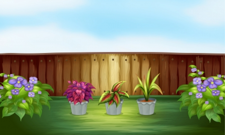 Illustration of the pot of plants inside the high fence Stock Vector - 18458354