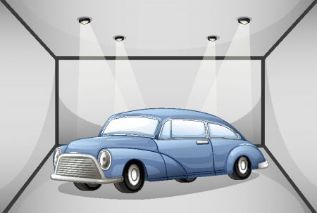 Illustration of an old car at the garage Vector
