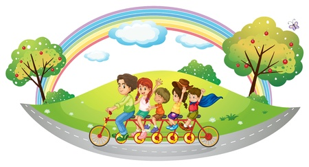 Illustration of the children riding in a bicycle on a white background Vector