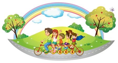ni�os en bicicleta: Ilustraci�n de los ni�os que montan en una bicicleta en un fondo blanco