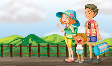 family holiday: Illustration of a happy family at the wooden bridge