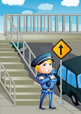 enforcer: Illustration of a traffic enforcer standing beside an outpost
