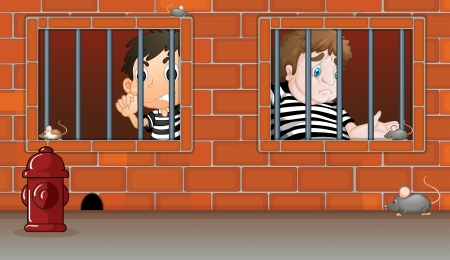 Ilustración de los hombres en la cárcel