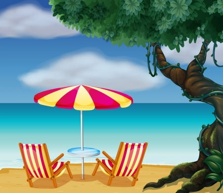 island clipart: Illustration of the stripe beach umbrella and the two chairs Illustration