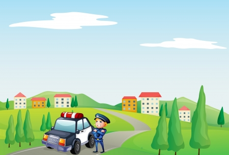 Illustration of a policeman and his patrol car at the street Stock Vector - 18458575