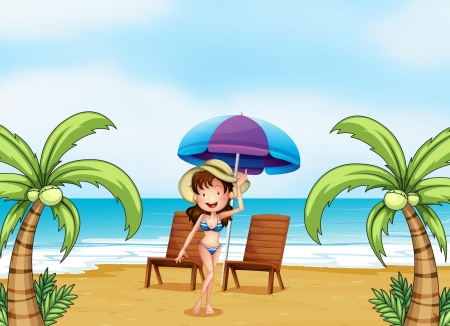 Illustration of a lady at the beach with coconut trees Vector