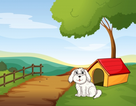 Illustration of a white dog sitting in front of a dog house Vector