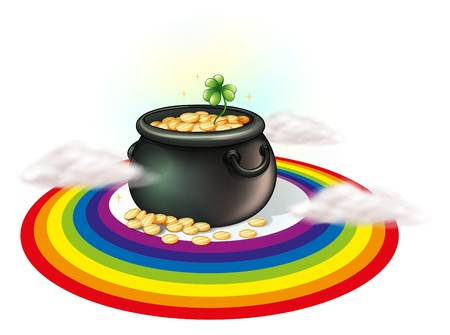 patron saint of ireland: Illustration of a pot of gold inside the rainbow on a white background