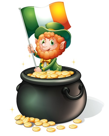 Illustration of a man inside a pot of gold holding a flag on a white background Stock Vector - 18459489