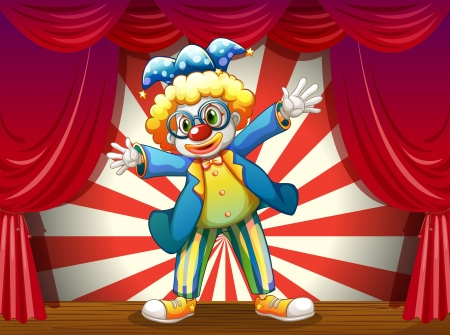 Illustration of a stage with a funny clown Vector