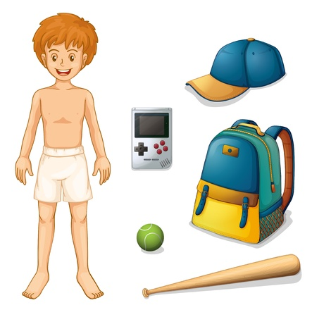 boy underwear: Illustration of a baseball player on a white background