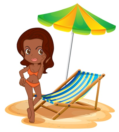 Illustration of a tan lady at the beach on a white background Vector