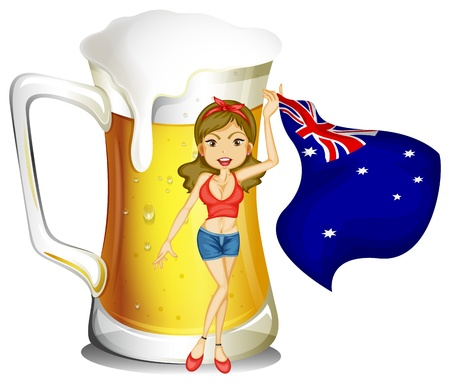 flag australia: Illustration of a girl with the flag of Australia in front of the big mug of beer on a white background