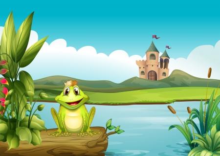blue frog: Ilustraci�n de una rana con una corona en el r�o