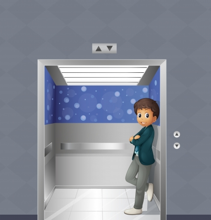 people in elevator: Illustration of a boy inside the elevator Illustration