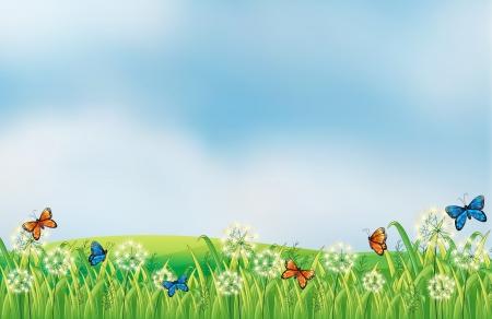 mariposas volando: Ilustración de las mariposas de colores en el jardín