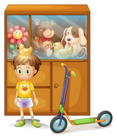 Illustration of a young boy with his scooter and his toys in a cabinet on a white background Vector