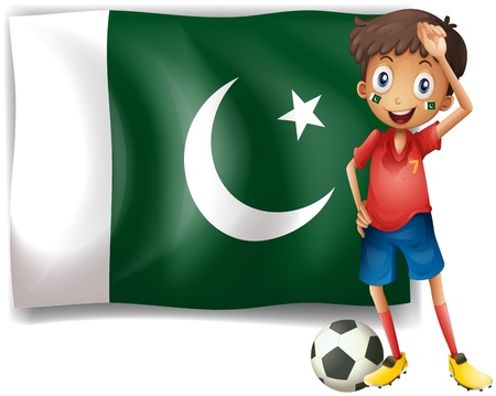 pakistan flag: Illustration of the Pakistan flag and the football player on a white background