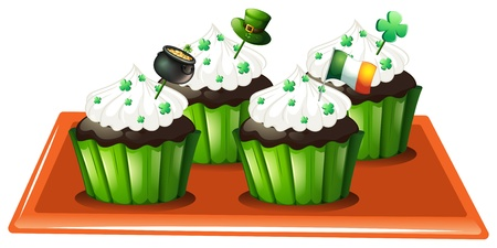 feast of saint patrick: Illustration of a tray with four chocolate cupcakes on a white background Illustration