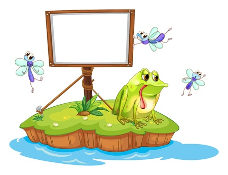 Illustration of a sad frog and a white blank board on a white background Vector