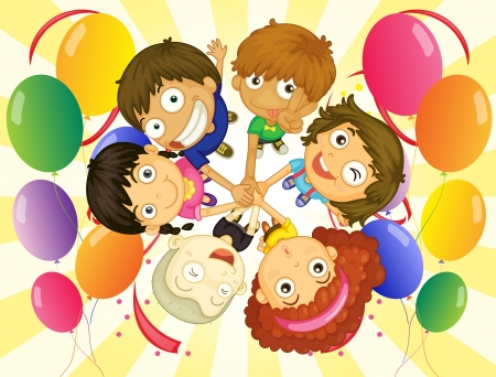 guests: Illustration of the kids in a party on a white background