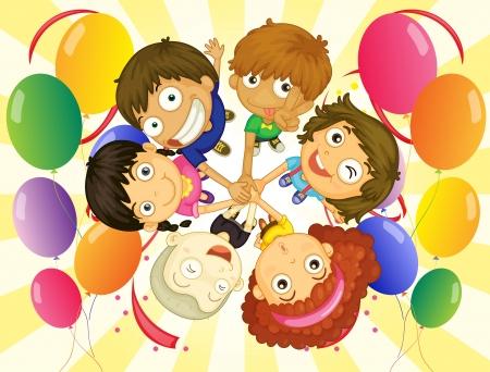 girotondo bambini: Illustrazione dei bambini in una festa su uno sfondo bianco Vettoriali
