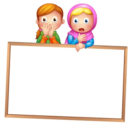 Illustration of an empty framed white board with two girls on a white background Illustration