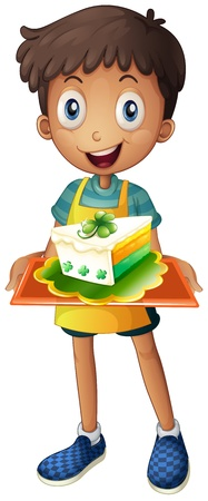Illustration of a boy holding a tray with a slice of cake on a white background Stock Vector - 18458699