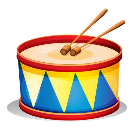 drum: Illustration of a big toy drum on a white background