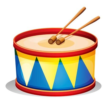 Ilustración de un gran tambor de juguete sobre un fondo blanco. Ilustración de vector