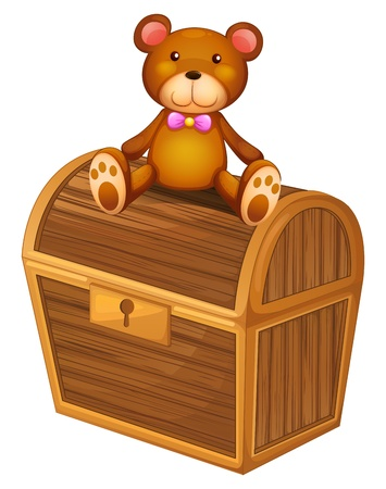 stuff toys: Illustration of a bear at the top of a treasure chest on a white background Illustration