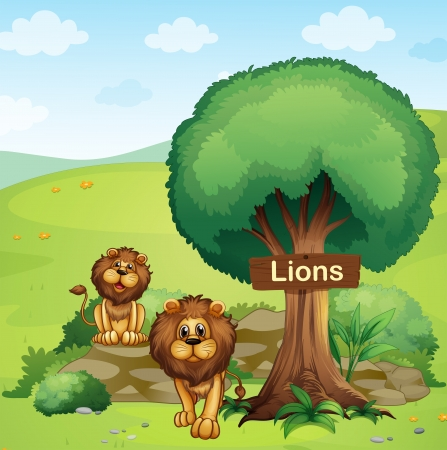 posted: Illustration of a signboard posted in a tree and the two lions Illustration