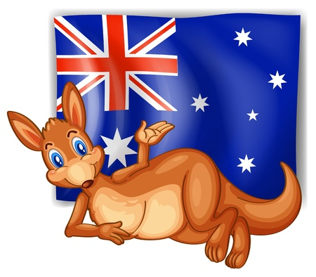 aussie: Illustration of a kangaroo in front of the Australian flag on a white background