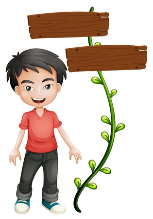 illustraiton: Illustration of a boy with wooden signboards on a white background