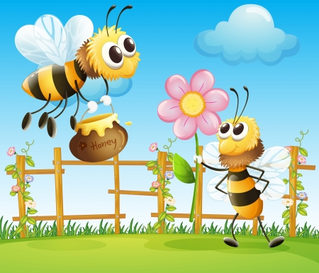 Illustration of the two big bees in the garden  Vector