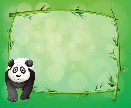 Illustration of a big panda beside a bamboo frame Vector