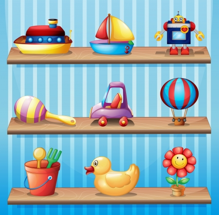 Illustration of the three wooden shelves with different toys  Illustration