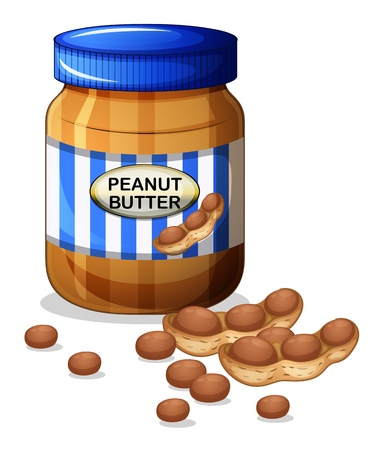 food storage: Illustration of a jar of peanut butter on a white background