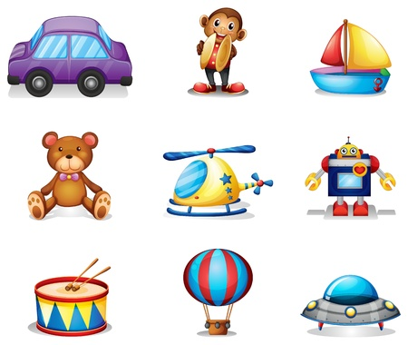 Illustration of the collection of toys on a white background Vector