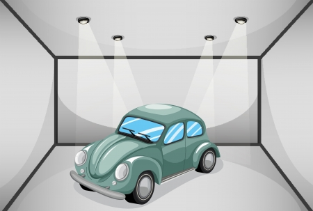 parked: Illustration of a garage with a car Illustration