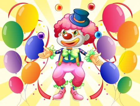 dozen: Illustration of a dozen of colorful balloons with a clown
