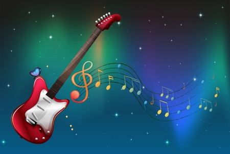 Illustration of a red guitar with musical notes Vector