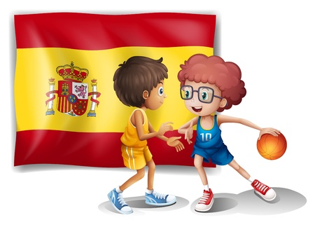 spaniards: Illustration of the boys playing basketball with the flag of Spain on a white background