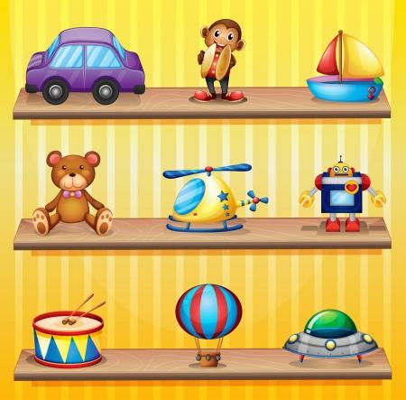 Ilustración de los diferentes juguetes dispuestos en los estantes de madera