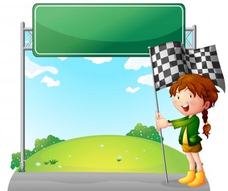 d�part course: Illustration d'une jeune fille tenant un drapeau de course sur un fond blanc Illustration