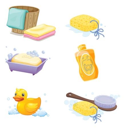 Illustrazione degli accessori da bagno su uno sfondo bianco