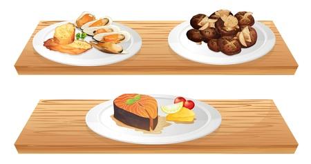 cozza: Illustrazione di due ripiani in legno con alimenti su uno sfondo bianco Vettoriali